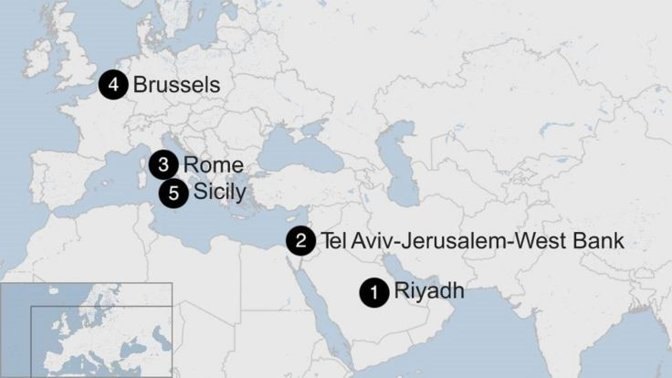 Map showing Donald Trump's first foreign trip - May 2017