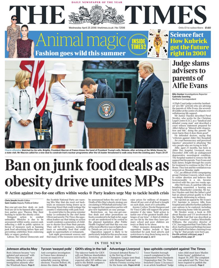 Times front page - 25/04/18