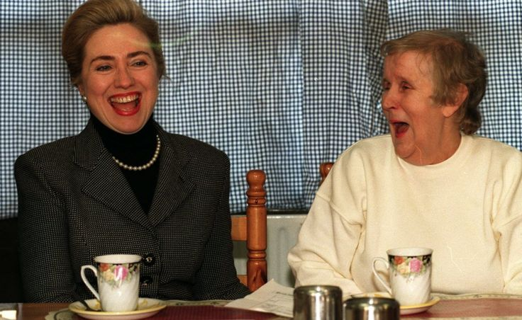 Hillary Clinton met peace campaigner Joyce McCartan during her first visit to Belfast in 1995