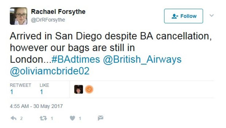 Tweet about lost bags from BA passenger