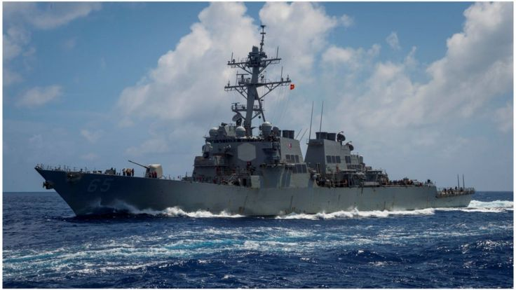 The Arleigh Burke-class guided-missile destroyer USS Benfold, forward-deployed to the U.S. 7th Fleet in the Indo-Pacific region, transits the Philippine Sea, June 14, 2018. Picture taken June 14, 2018. Sarah Myers/U.S. Navy/Handout via REUTERS