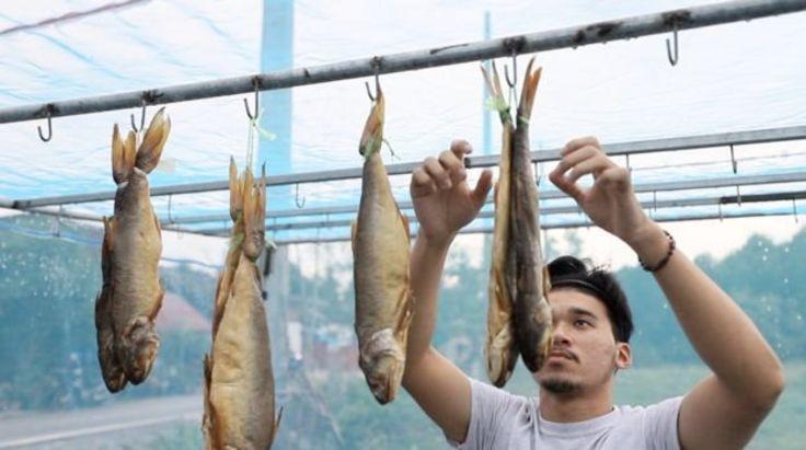 Fisherman drying fish