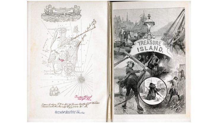 """Иллюстрации к третьему изданию """"Острова Сокровищ"""" с картой и инструкцией как найти клад, 1886 год."""
