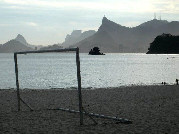 A football goal on Inga beach, Niteroi