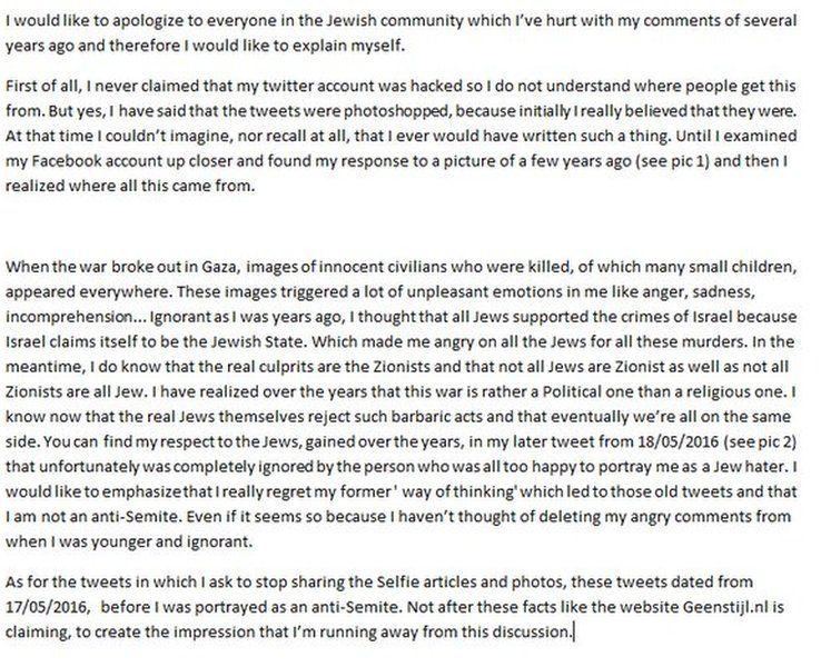 Statement apologising to the Jewish community.