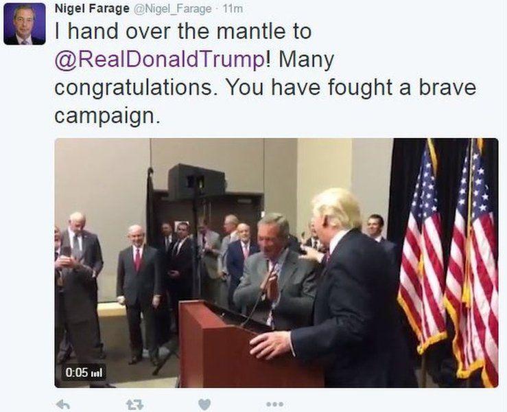 Nigel Farage tweets congratulations