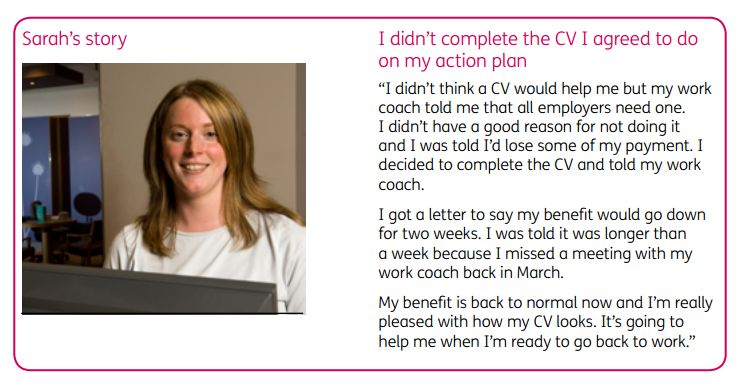 """""""Sarah's story"""" from DWP leaflet"""