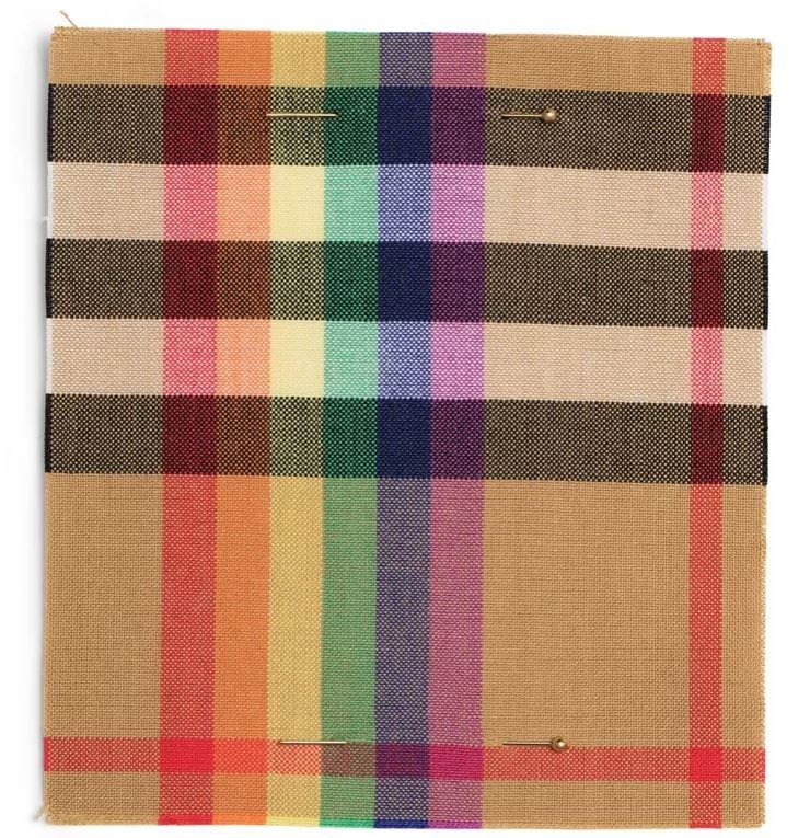 The rainbow check is a twist of Burberry's famous print