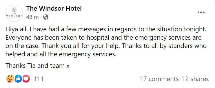 The Windsor Hotel's Facebook post