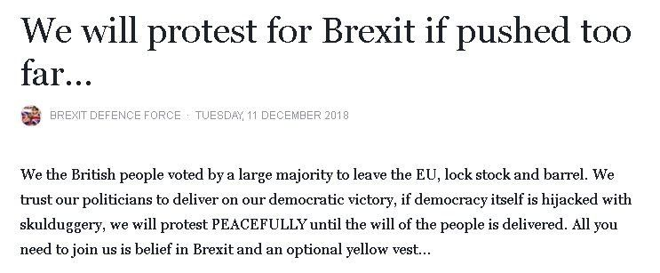 """""""We will protest for Brexit if pushed too far..."""""""