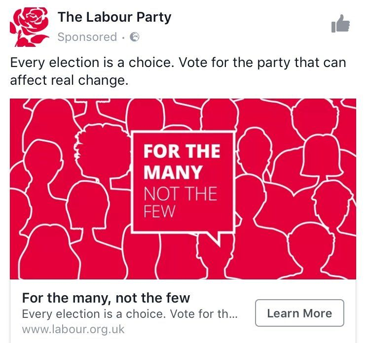 """Labour Facebook advert. Picture reads: """"For the many not the few"""""""