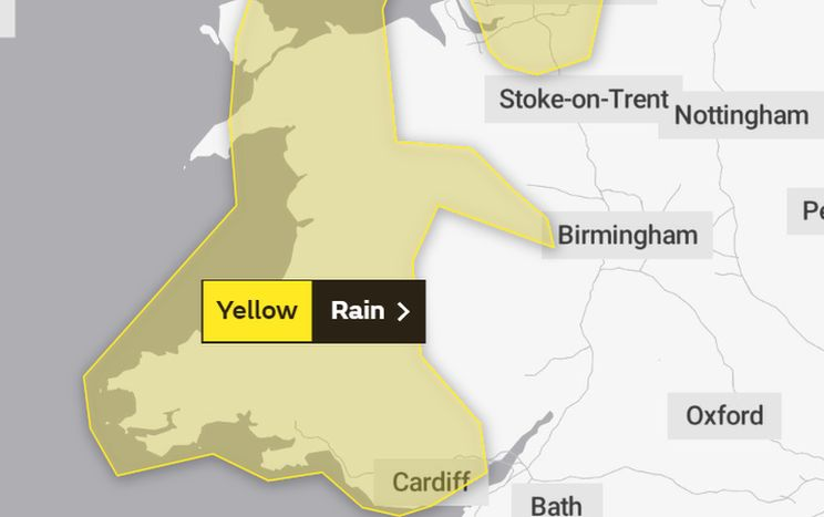 Yellow Met Office weather warning covering Wales