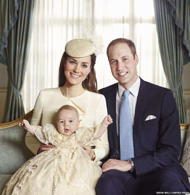 The official portrait for the christening of Prince George Alexander Louis of Cambridge, photographed in The Morning Room at Clarence House in London on October 23rd 2013. PICTURED: HRH Duke of Cambridge, HRH Duchess of Cambridge with their son HRH Prince George