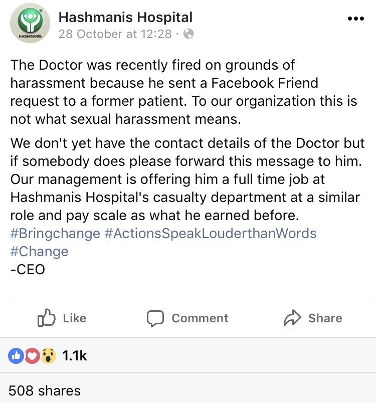 Facebook post from Hashmanis hospital offering the doctor a job