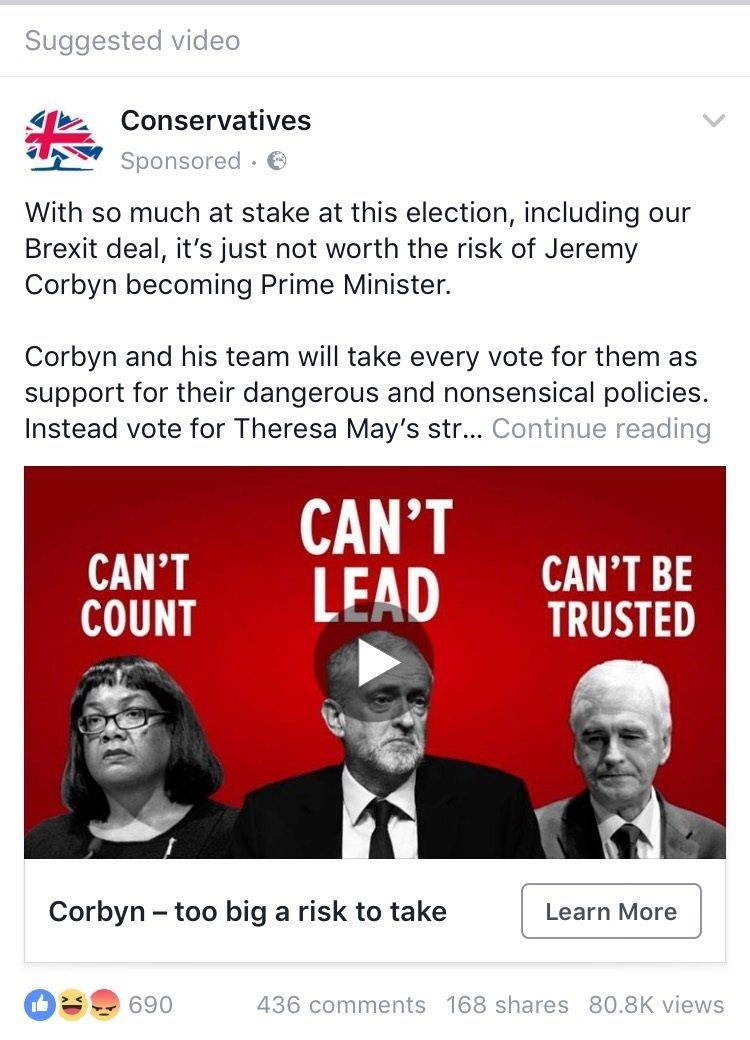 """Post states: """"With so much at stake this election, including our Brexit deal, it's just not worth the risk of Jeremy Corbyn becoming Prime Minister."""