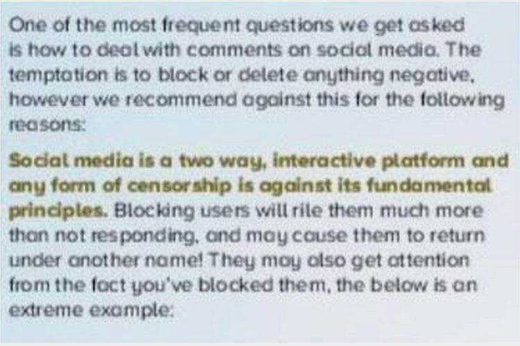 """""""Social media is a two way, interactive platform and any form of censorship is against its fundamental principles"""""""