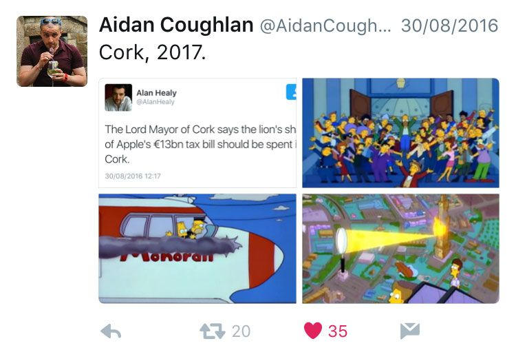 """A tweet showing scenes from an episode of """"The Simpsons"""" in which the town waste a windfall on a doomed Monorail system from a shady businessman"""