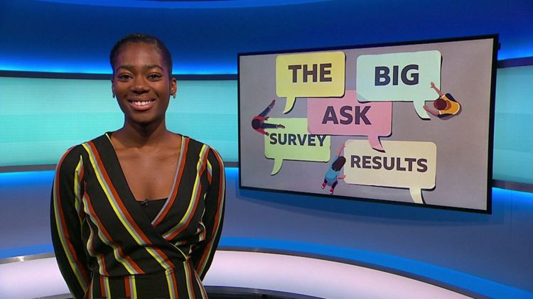 Shanequa on the Newsround set with a picture of some graphic of words