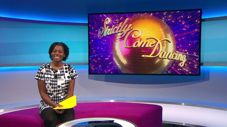 Shanequa on the Newsround sofa with the strictly picture