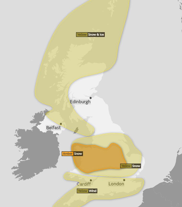 The Met Office have issued yellow and amber weather warnings for Sunday