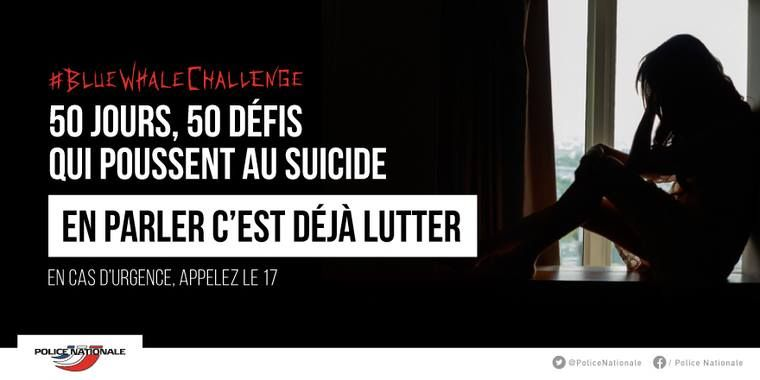 A warning from French police on the so-called Blue Whale Challenge, posted on Facebook