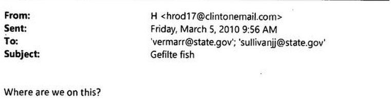 Email asking about Gefilte fish