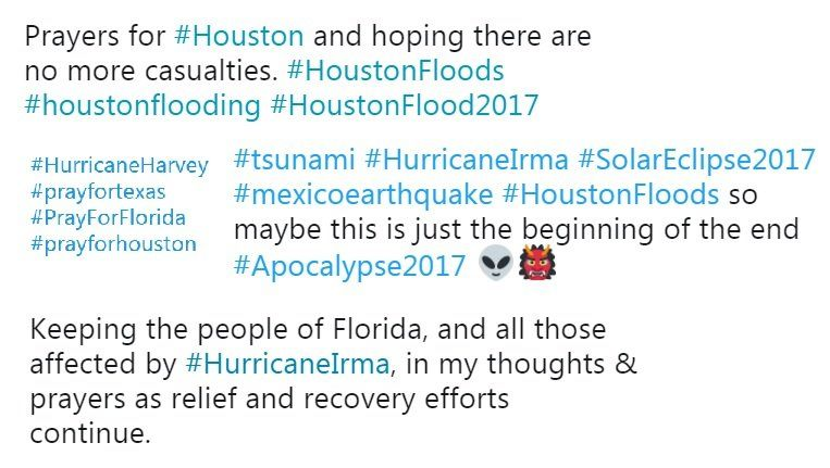 A selection of tweets with hashtags such as #HurricaneIrma and #PrayforHouston that offer little useful information