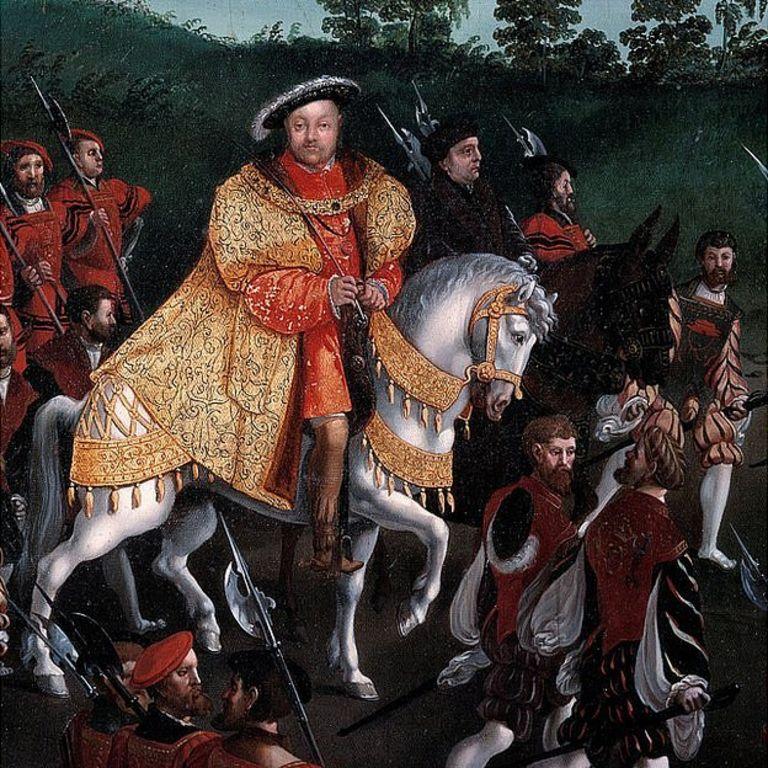 Rey Enrique VIII a caballo con cortesanos y soldados. Pintada por Friedrich Bouterwerk (Bouterwek) (1806-1867), 1845