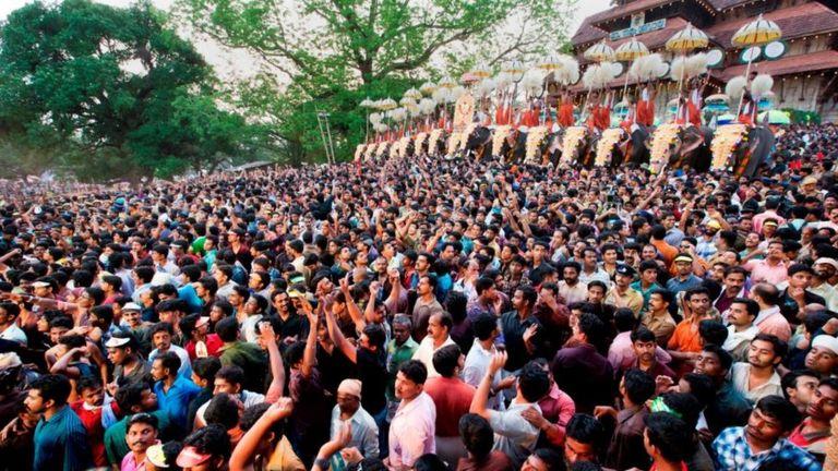 На шествие слонов в Триссуре приходят миллионы людей