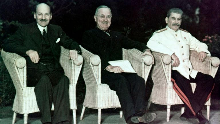 Clement Attlee, Harry Truman and Joseph Stalin at Potsdam