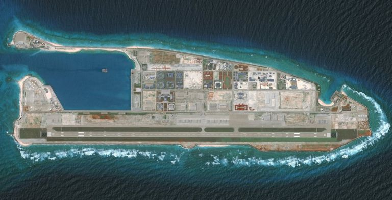 Satellite image of Chinese military build-up on Fiery Cross Reed in the Spratly Islands