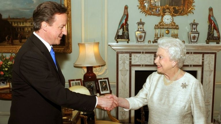 The Queen inviting David Cameron to form a government in 2010