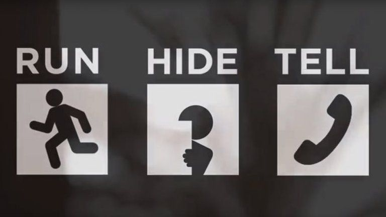 Run, hide, tell sign