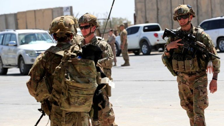 File photo showing US soldiers during a handover ceremony of Taji military base to Iraqi security forces (23 August 2020)
