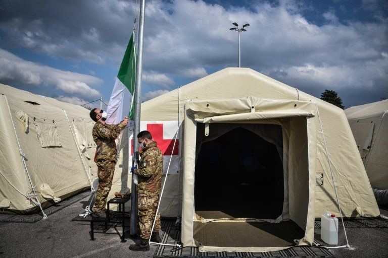 A field hospital in Crema, Lombardy where health workers are struggling to cope with the outbreak