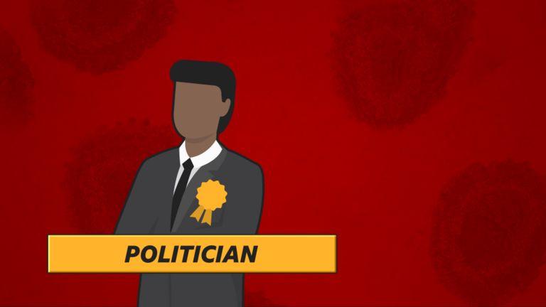 """Politician"": Cartoon politician on red background"