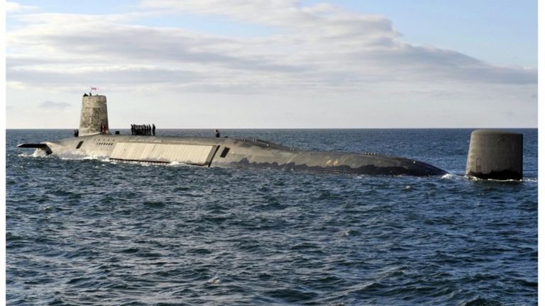 Submarine carrying UK's nuclear missiles