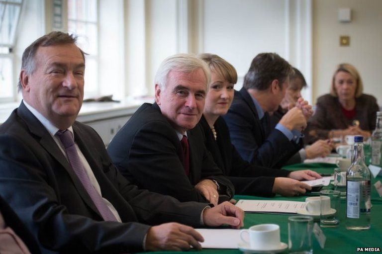Nick Brown, John McDonnell and Rebecca Long Bailey at a shadow Cabinet meeting