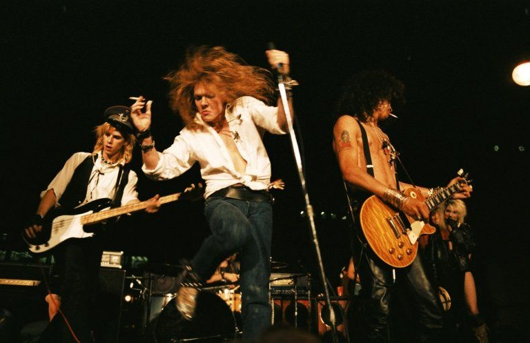 Guns'N'Roses perform at the 8th Annual Los Angeles Street Scene, in September 1985.