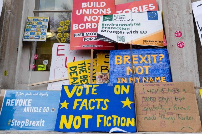 Anti-Brexit signs