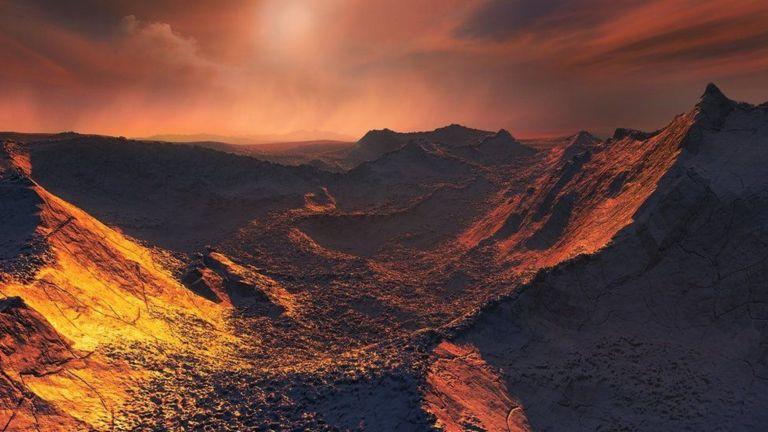 Recreación de una puesta de sol en el exoplaneta estrella de Barnard b.