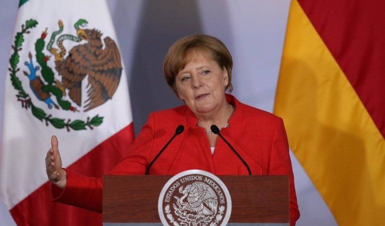 Germany's Chancellor Angela Merkel speaks during an official event with Mexican and German business leaders in Mexico City on 10 June, 2017