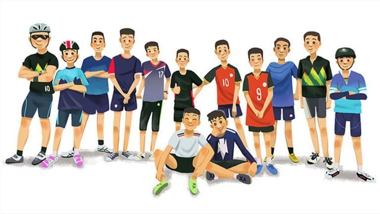 Dibujo de los integrantes del equipo de fútbol Jabalíes Salvajes