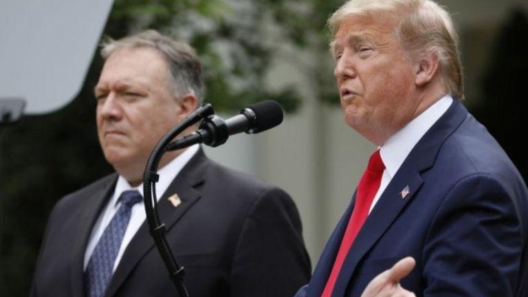 Tổng thống Mỹ Donald Trump và Ngoại trưởng Mike Pompeo ngày 29/5