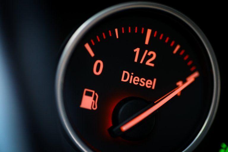 Diesel fuel gauge in a car, showing a full tank