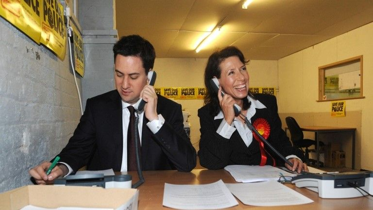 Debbie Abrahams campaigning with Ed Miliband in 2010