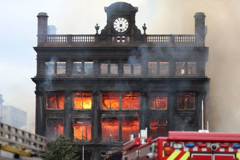 Bank Buildings on fire