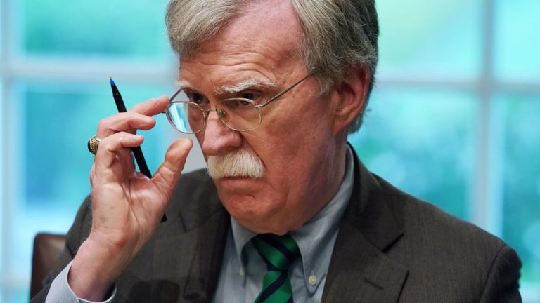 John Bolton, shown in April 2019, with a pen