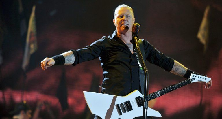 Metallica performing on the Pyramid Stage at Glastonbury Festival, 2014.