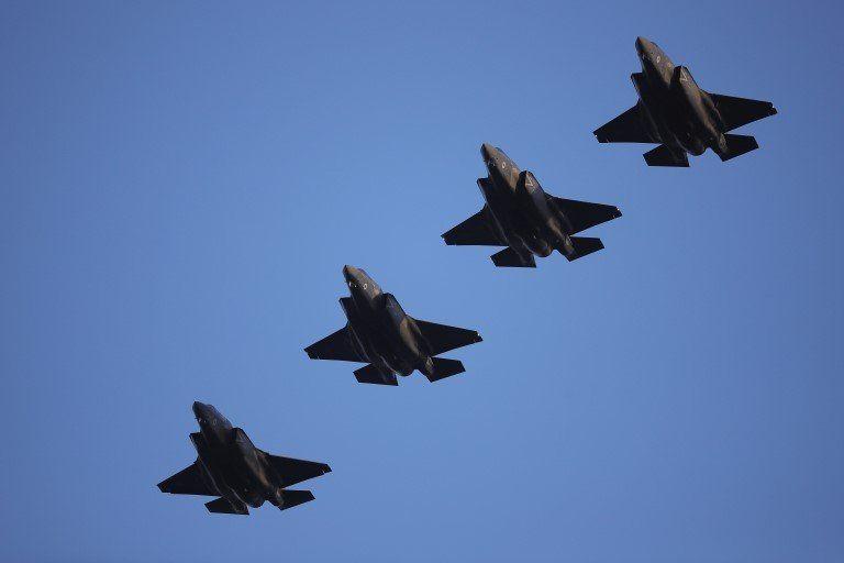 Four RAF F-35Bs arriving at RAF Marham